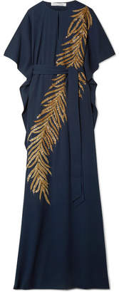 Oscar de la Renta Embellished Stretch-silk Gown - Midnight blue