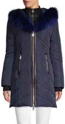 Solden Fox Fur-Trimmed Down Jacket