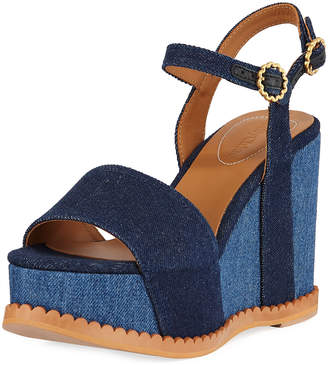 See by Chloe Two-Tone Platform Denim Sandals