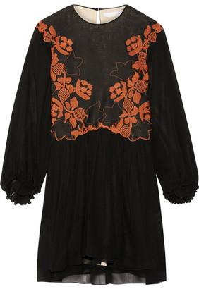 Chloé - Embroidered Linen And Silk-chiffon Mini Dress - Black $2,995 thestylecure.com