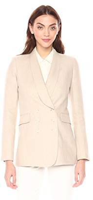 Theory Women's Linen Shawl Collar Double Breasted Blazer