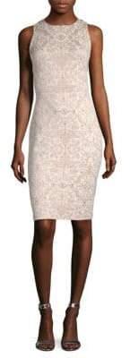 St. John Leaf Brocade-Knit Sheath Dress