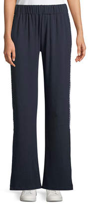 Made on Grand Pull-On Side-Slit Flare-Leg Ankle Pants