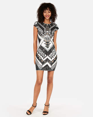 Express Petite Short Sleeve Sequin Sheath Dress