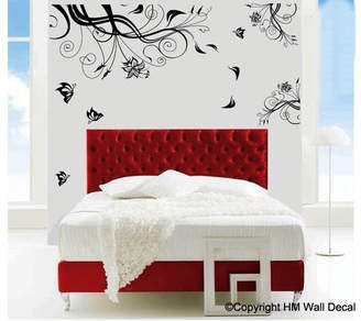 H&M Wall Decal Black Floral and Butterflies Removable Wall Decal