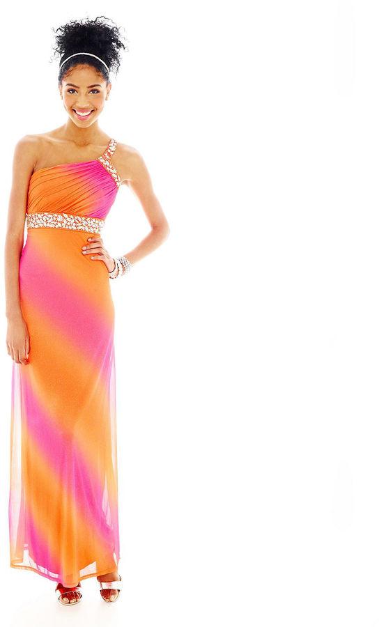 My Michelle 1-Shoulder Beaded-Trim Ombr Long Dress