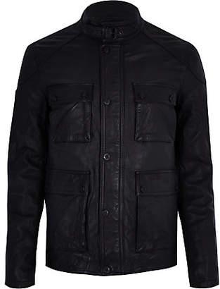 River Island Superdry black leather pocket jacket