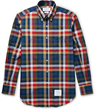 Thom Browne Slim-fit Button-down Collar Checked Cotton-poplin Shirt - Blue