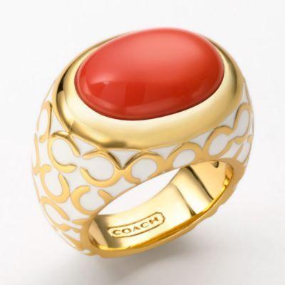 Op Art Glass Domed Ring