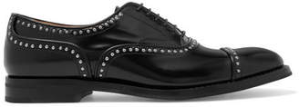 Church's Anna Met Studded Glossed-leather Brogues - Black