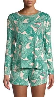 Monrow Banana Leaf Two-Piece Pajama Set