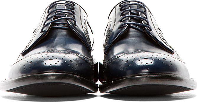 Paul Smith Deep Navy Brushed Leather Lincoln Longwing Brogues