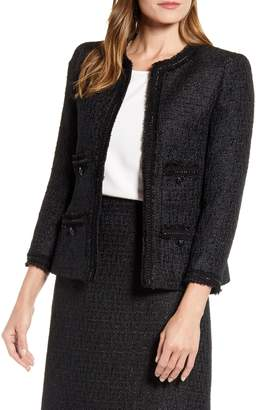 Anne Klein Fringe Trim Tweed Jacket