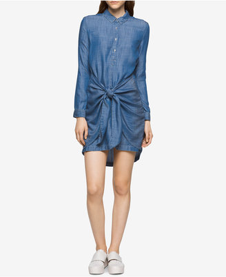 Calvin Klein Jeans High-Low Knotted Denim Shirtdress $89.50 thestylecure.com