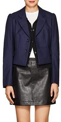 Comme des Garcons Women's Pinstriped Crop Two-Button Blazer - Navy