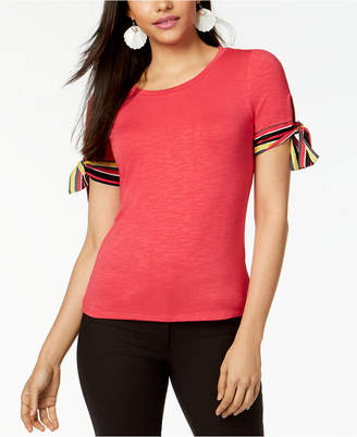 Maison Jules Striped Tie-Sleeve Top, Created for Macy's