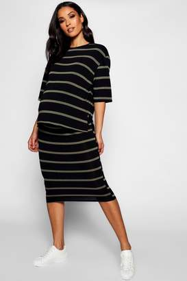 boohoo Maternity Soft Knit Stripe Midi Skirt