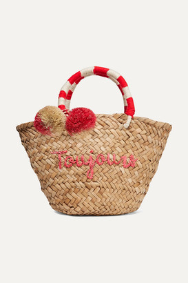 Kayu St Tropez Mini Pompom-embellished Embroidered Woven Straw Tote - Neutral