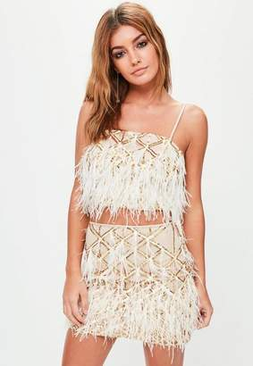Missguided Gold Feather Crop Bralette