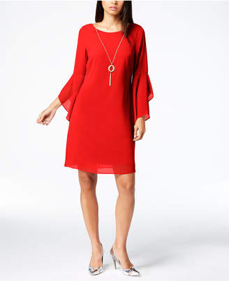 Thalia Sodi Bell-Sleeve Shift Dress with Necklace