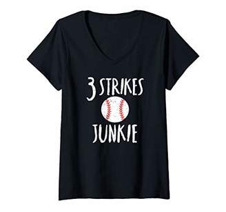 Womens 3 Strikes Youre Out Sports Tshirt for Baseball Fans V-Neck T-Shirt