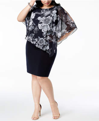 Connected Plus Size Floral-Chiffon Cape Dress