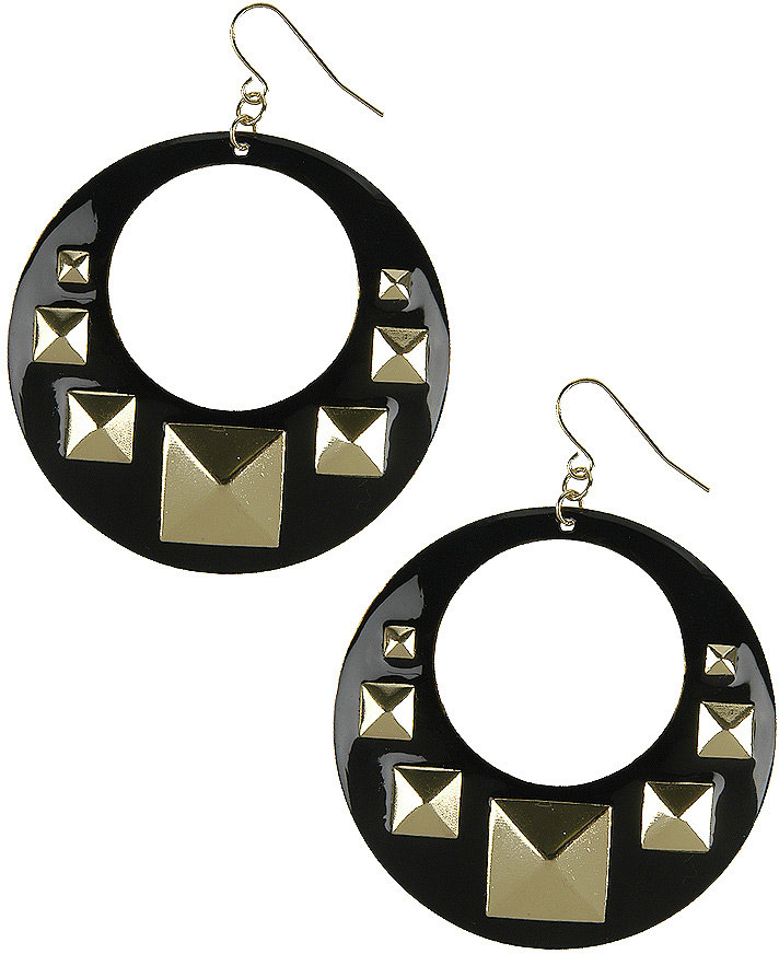 Pyramid Stud Hoop Earrings