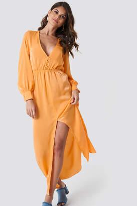 NA-KD Andrea Hedenstedt X Front Button Maxi Dress Orange