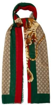 Gucci Gg Supreme And Angry Tiger Print Scarf - Mens - Brown Multi