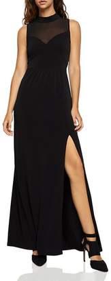 BCBGeneration Chiffon-Inset Slit Maxi Dress