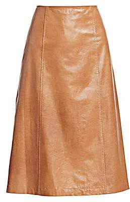 St. John Women's A-Line Leather Midi Skirt