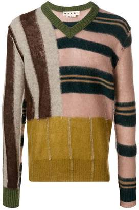 Marni patched stripe V-neck sweater
