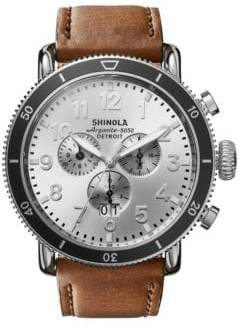 Shinola Runwell Sport Chronograph Stainless Steel& Leather-Strap Watch