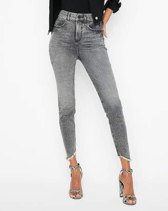 Express Super High Waisted Denim Perfect Stretch+ Cropped Leggings