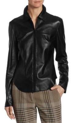 Akris Punto Perforated Leather Shirt