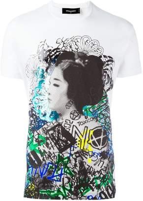 DSQUARED2 graffiti geisha print T-shirt
