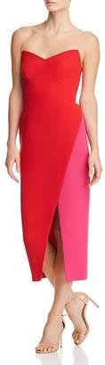 Jill Stuart Strapless Color-Blocked Crepe Dress