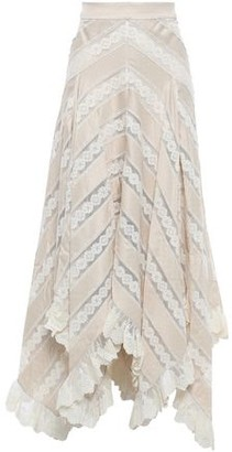 Zimmermann Lace-paneled Polka-dot Satin Midi Skirt