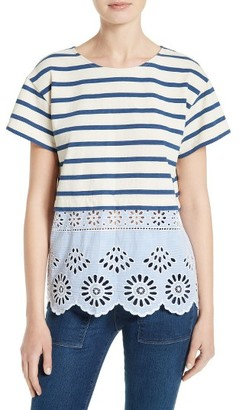 Women's Sea Eyelet Hem Stripe Tee $250 thestylecure.com