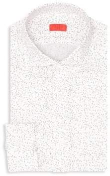 Isaia Printed Cotton Dress Shirt