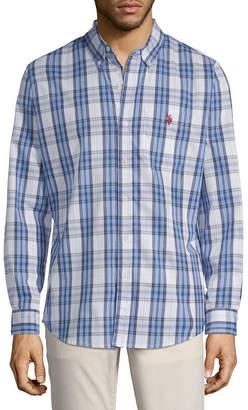 U.S. Polo Assn. USPA Mens Long Sleeve Plaid Button-Front Shirt