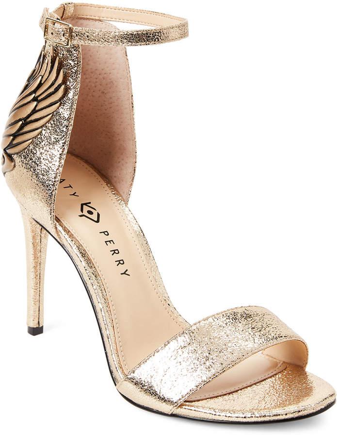Katy Perry Gold Alexann High-Heel Ankle Strap Sandals