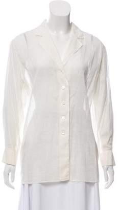 Alaia Semi-Sheer Long Sleeve Button-Down