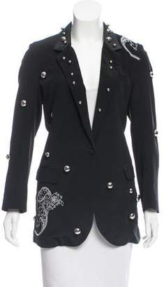 Dodo Bar Or Leather-Accented Silk Blazer w/ Tags