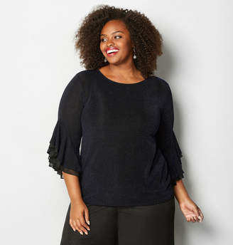Avenue Midnight Shimmer Bell Sleeve Top