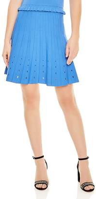 Sandro Izzy Pleated Eyelet-Detail A-Line Skirt