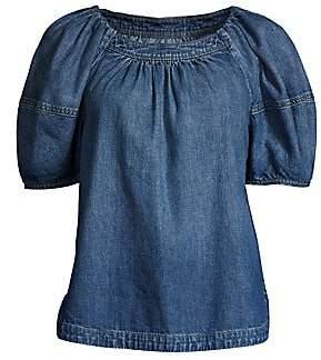 Rebecca Taylor Women's Puff Sleeve Denim Top