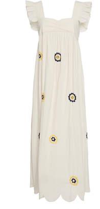 ALEXACHUNG Fifi Embroidered Smock Midi Dress