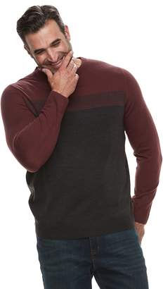 Croft & Barrow Big & Tall Classic-Fit Colorblock 12GG Crewneck Sweater
