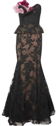 Marchesa Strapless Appliquéd Corded Lace And Tulle Peplum Gown - Black